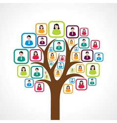 Creative colorful social media people tree concept vector
