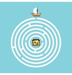 Pirate treasure maze vector