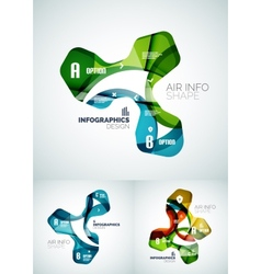Set of wave business infographics vector