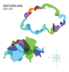 Abstract color map of switzerland vector