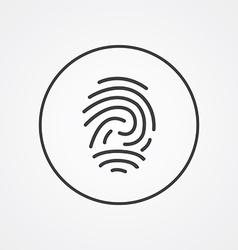 Fingerprint outline symbol dark on white vector