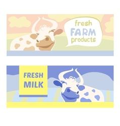 Fresh farm products happy cow on meadow editable vector
