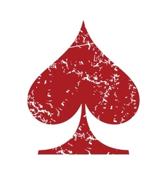 Red grunge spades card logo vector