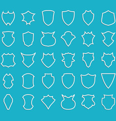 White outline shields on blue background vector