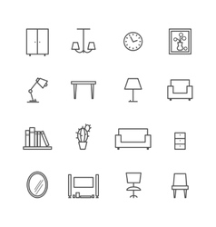Line furniture icons vector