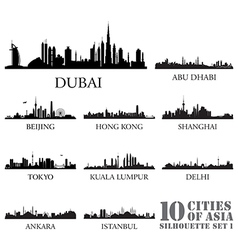 Set of skyline cities silhouettes vector