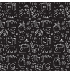Suitcases seamless background vector