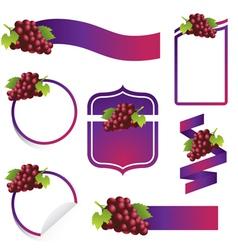 Grape label set vector