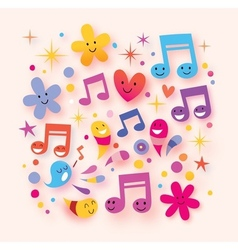 Happy music background vector