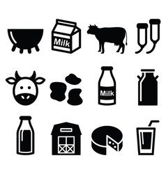 Milk cheese production cow icons set vector