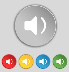 Speaker volume sound icon sign symbol on five flat vector