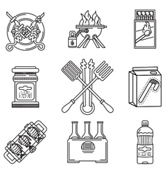 Black line icons for picnic vector