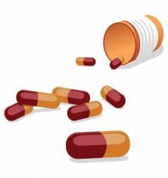 Pills and pill bottle vector