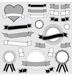 Ribbon and badge designs vector