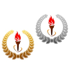 Flaming torch in golden and silver laurel vector