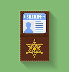 Icon of sheriff badge with id case holder flat vector