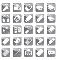 Phone and computer accessories icon set vector