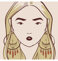 Beautiful woman with long hair hand drawn vector
