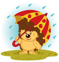 Hedgehog with umbrella in rain vector