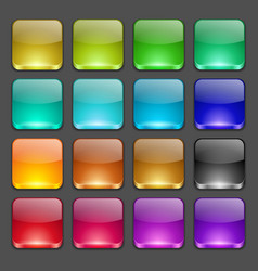 Colorful square glossy buttons vector
