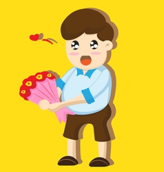 Cartoon boy present flowers vector