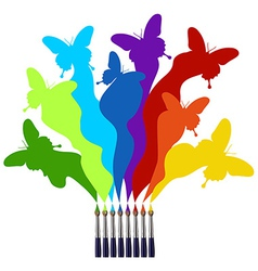 Paint brushes and colored butterflies rainbow vector