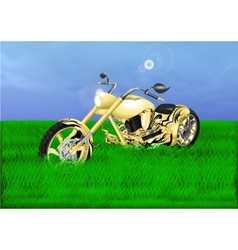 Gold chopper on a green meadow vector