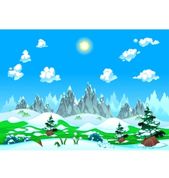 Landscape with snow and mountains vector