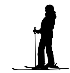 Skier speeding down slope sport silhouette vector