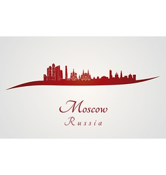 Moscow skyline in red vector