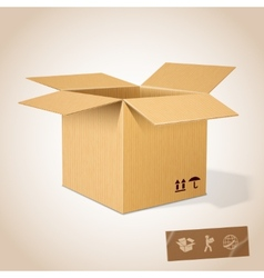 Open realistic cardboard box vector