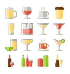 Drinks flat icons set vector