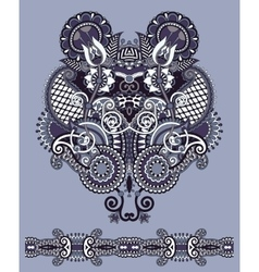 Neckline ornate floral paisley embroidery fashion vector