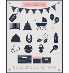 Baby shopping time vector