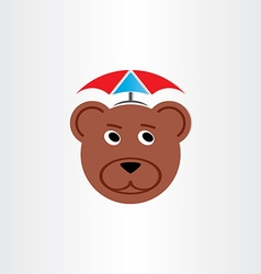 Brown bear head with umbrella vector