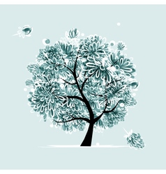 Winter tree with frozen flowers for your design vector