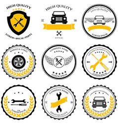 Car service auto parts tools icons set vector