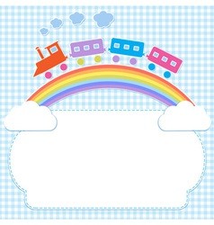 Frame with colorful train on rainbow vector