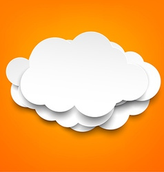 White paper clouds over orange background vector