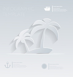 Island with palm trees theme holidays template vector