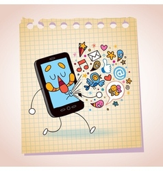 Mobile phone note paper cartoon sketch vector