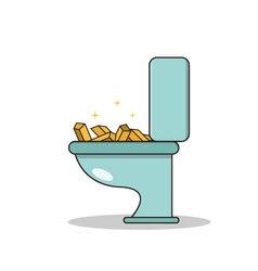 Isolated cartoon treasure gold on toilet vector