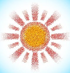 Sun made of scattered balls vector