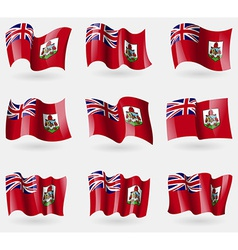 Set of bermuda flags in the air vector