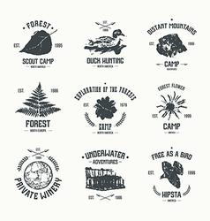 Adventure camp emblems vector