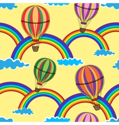 Air balloon in the yellow sky with clouds rainbow vector