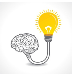 New idea concept or bulb connect to the brain vector