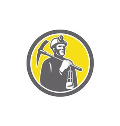 Coal miner hardhat with pick axe lamp front circle vector