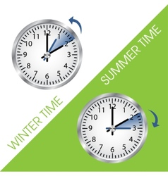 Clock showing summer and winter time vector