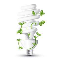 Fluorescent lightbulb with plant vector